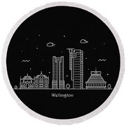 Wellington Skyline Travel Poster Round Beach Towel