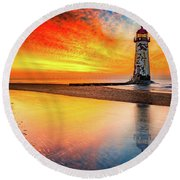Welsh Lighthouse Sunset Round Beach Towel by Adrian Evans