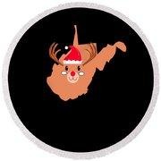 West Virginia Christmas Hat Antler Red Nose Reindeer Round Beach Towel