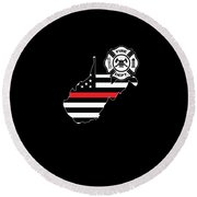 West Virginia Firefighter Shield Thin Red Line Flag Round Beach Towel