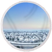 Western Lake In The Hills Round Beach Towel