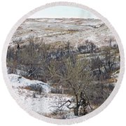 Western Edge Winter Hills Round Beach Towel
