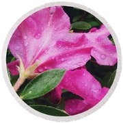 Wet Blooms Round Beach Towel