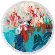 What Are Those Birds Saying? Round Beach Towel