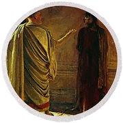 What Is Truth Christ And Pilate Round Beach Towel
