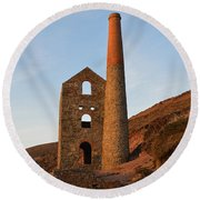 Wheal Coates Mine Chapel Porth Cornwall Round Beach Towel