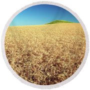 Wheat And Mounds Round Beach Towel