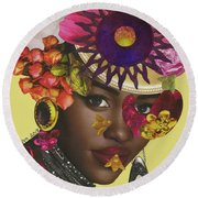 When African Eyes Are Smiling Round Beach Towel