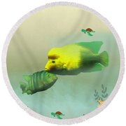 Whimsical Fish Round Beach Towel