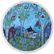 Whimsy Viilage Round Beach Towel