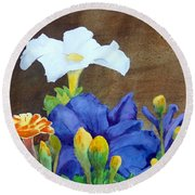 White And Purple Petunia And Marigolds Round Beach Towel