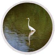 White Egret In Water Round Beach Towel