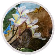 White Flower With Abstract Background Round Beach Towel