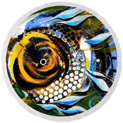 White Headed Mouth Fish Round Beach Towel