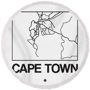 White Map Of Cape Town Round Beach Towel