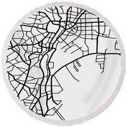White Map Of Tokyo Round Beach Towel