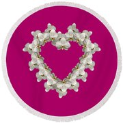 White Orchid Floral Heart Love And Romance Round Beach Towel by Rose Santuci-Sofranko