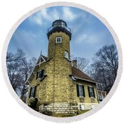 White River Lighthouse Round Beach Towel