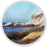 The White Rocks Of Piedras Blancas Round Beach Towel