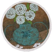 White Roses In Teal Vase Round Beach Towel