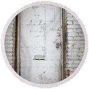 White Steel Factory Door Chinatown Washington Dc Round Beach Towel by Edward Fielding