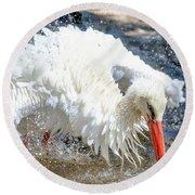White Stork Fishing Round Beach Towel