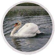 White Swan On Lake Round Beach Towel