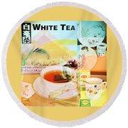 White Tea Blend  Round Beach Towel