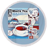 White Tea In Blue And White Round Beach Towel