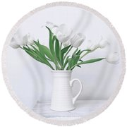 White Tulip Love Round Beach Towel by Kim Hojnacki