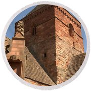Whitekirk 12th Century Church Tower In East Lothian Round Beach Towel