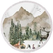 Wild Alaska Travel Poster Round Beach Towel by Celestial Images