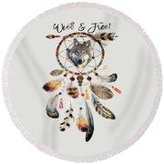 Wild And Free Wolf Spirit Dreamcatcher Round Beach Towel
