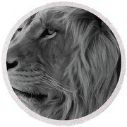 Wild Lion Face Round Beach Towel
