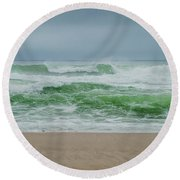 Wild Waves Round Beach Towel by Judy Hall-Folde