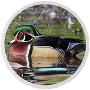 Wild Wood Duck On The Old Mill Pond  Round Beach Towel