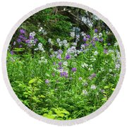 Wildflowers On Green's Hills Round Beach Towel