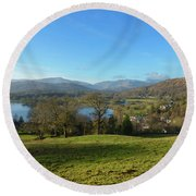 Windermere With Loughrigg Fell And The Langdales From Ambleside Round Beach Towel