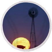 Windmill And Moon 01 Round Beach Towel by Rob Graham