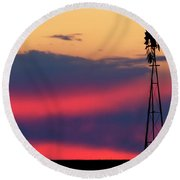 Windmill At Sunset 07 Round Beach Towel by Rob Graham