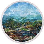 Windy Day In The Grassland. Original Oil Painting Impressionist Landscape. Round Beach Towel