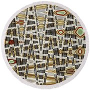 Wine Corks At An Angle Abstract Round Beach Towel
