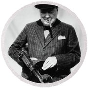Winston Churchill With Tommy Gun Round Beach Towel