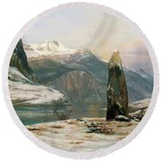 Winter At The Sognefjord - Digital Remastered Edition Round Beach Towel