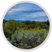 Winter In The Valley  H1933 Round Beach Towel by Mark Myhaver