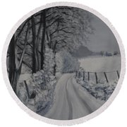 Winter Lane Round Beach Towel