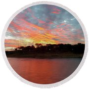 Winter Morning Sky Round Beach Towel