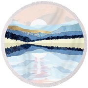 Winter Reflection Round Beach Towel