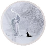 Winter Solstice Holiday Card Round Beach Towel
