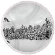 Winter Storm Anderson Pond Round Beach Towel